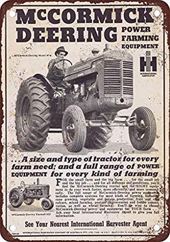 LoMall 8 x 12 Metal Tin Sign 1946 McCormick Deering Tractors Vintage Look Reproduction Wall Decor