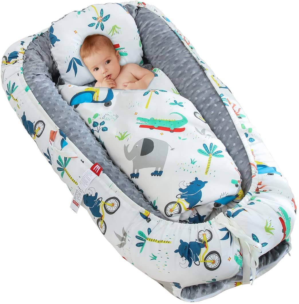 Yolispa Baby Crib Portable Milky Dot Reversible Baby Bassinet Infant Co-Sleeping Crib Baby Lounger for Bedroom Travel Outdoor