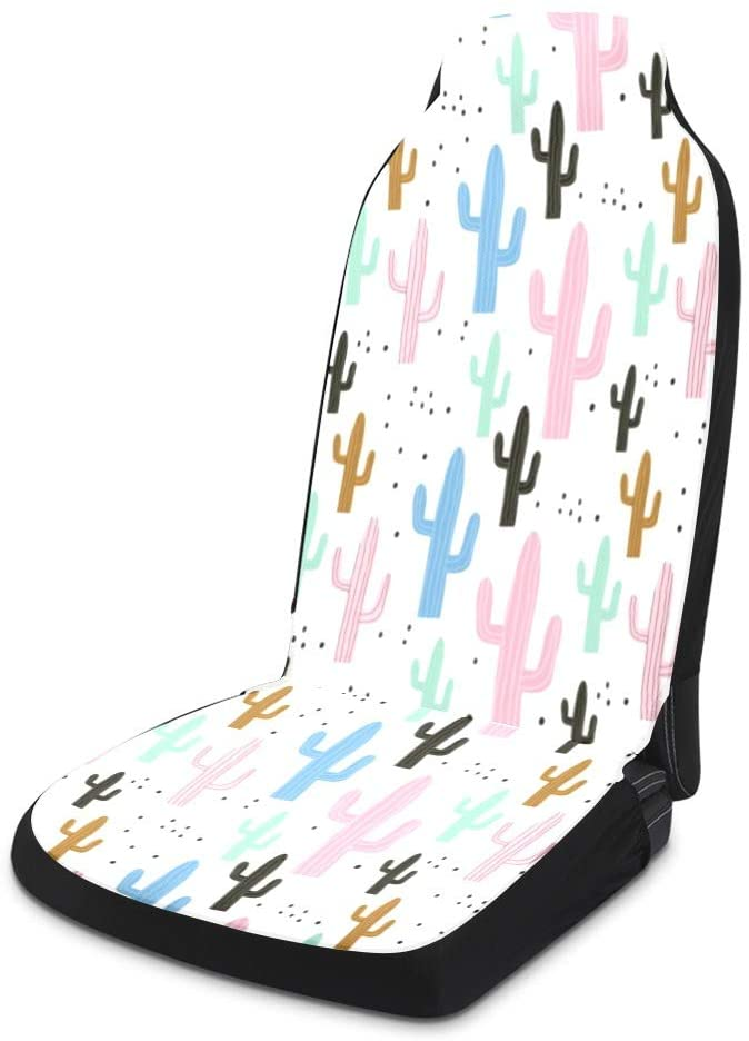 Yeshop Colorful Cactus Pattern Car Seat Covers for Front of 2,Vehicle Seat Protector Fit Most Car,Truck,SUV,Van