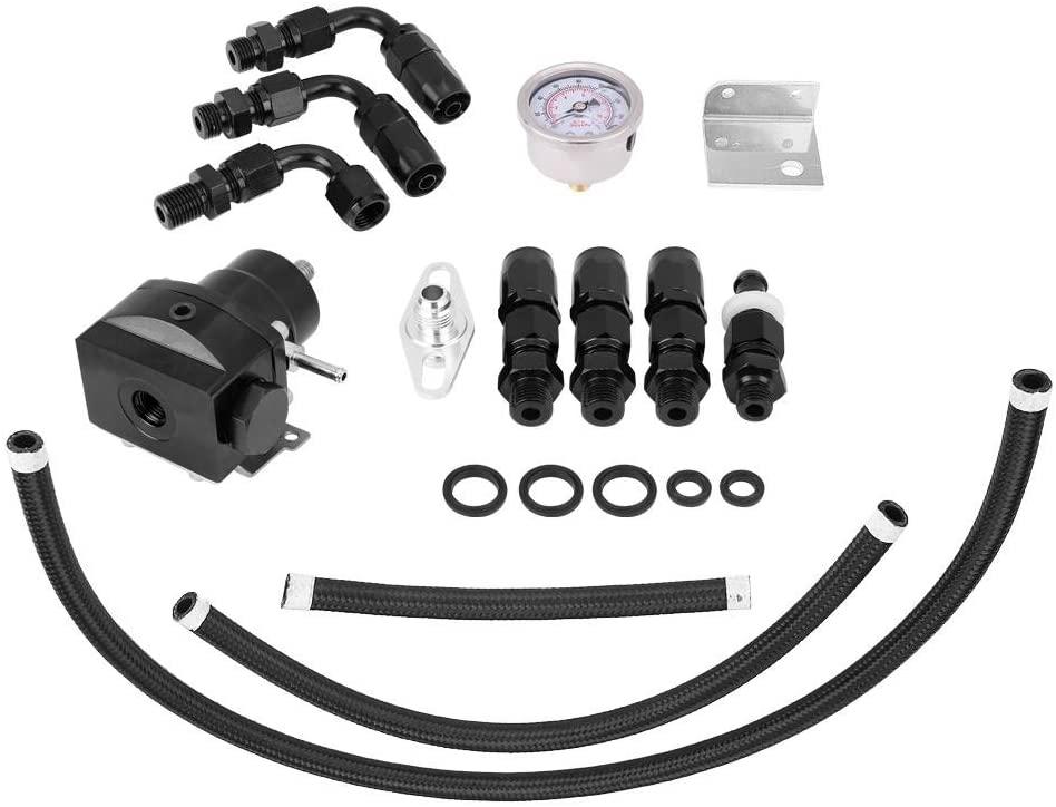 Acouto Fuel Pressure Regulator Kit,Adjustable Fuel Pressure Regulator Oil 160psi Gauge AN 6 Fitting End Universal 0-160 PSI(Black)
