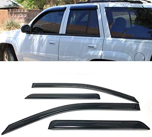 For 2002-2009 Chevy TrailBlazer / 2004-2006 GMC Envoy XUV 4 Pcs Smoke Window Sun Rain Visor Vent Guard Deflector Shade Set