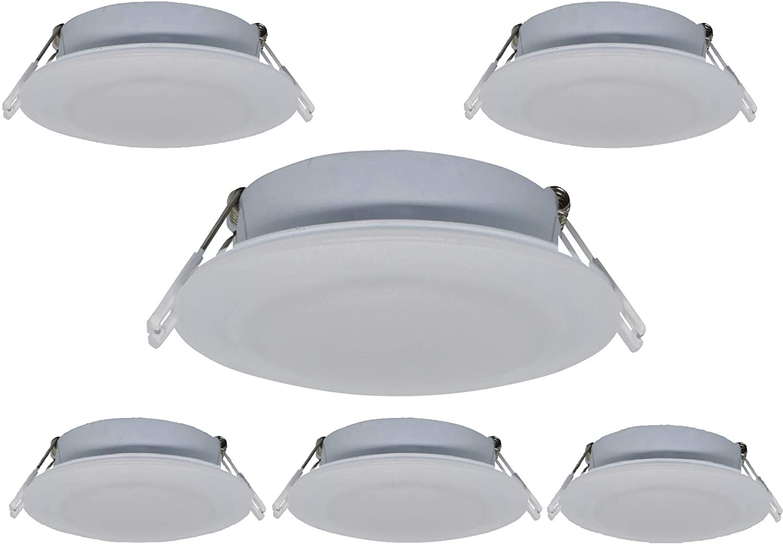 Risestar LED RV Recessed Ceiling Light 4.5Inch DC12V Cabinet Light Interior Lighting for RV Camper Caravan Trailer Boat, Warm White (Pack of 6)