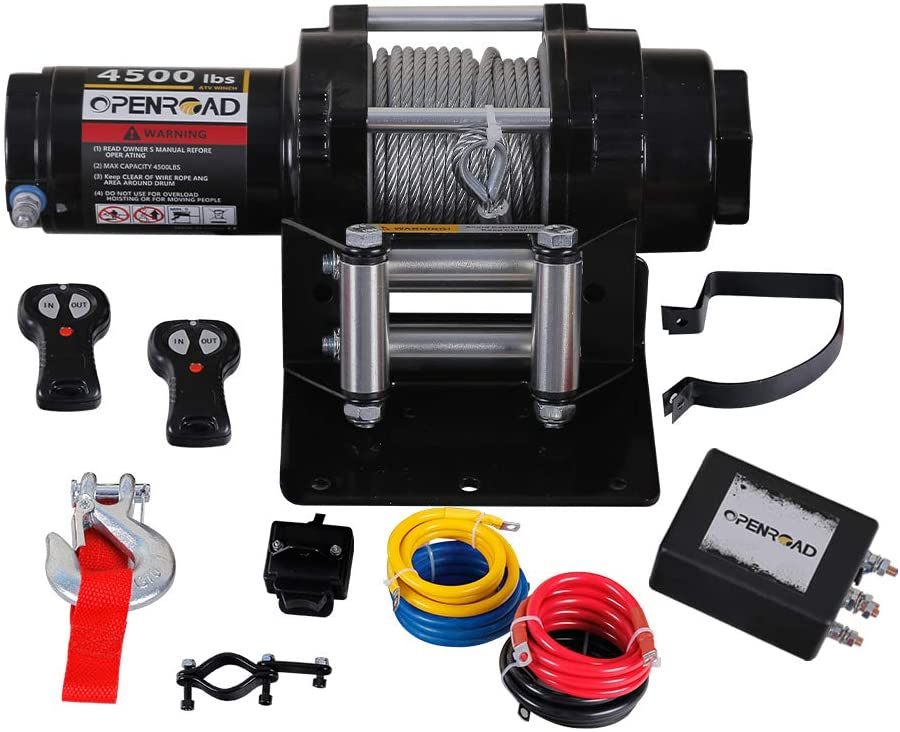 OPENROAD 4500lbs UTV/ATV Winch,12V Electric Winch with Cable,Wireless Winch Kit for SUV (Handle Wireless Remote Control,Removable Control Box and 250A Winch Relay)