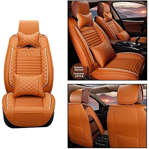 Maite Front Car Seat Covers for Kia Spectra PU Leather 2Pcs Car Seat Cushion-Compatible with Airbag (Cayenne Yellow)
