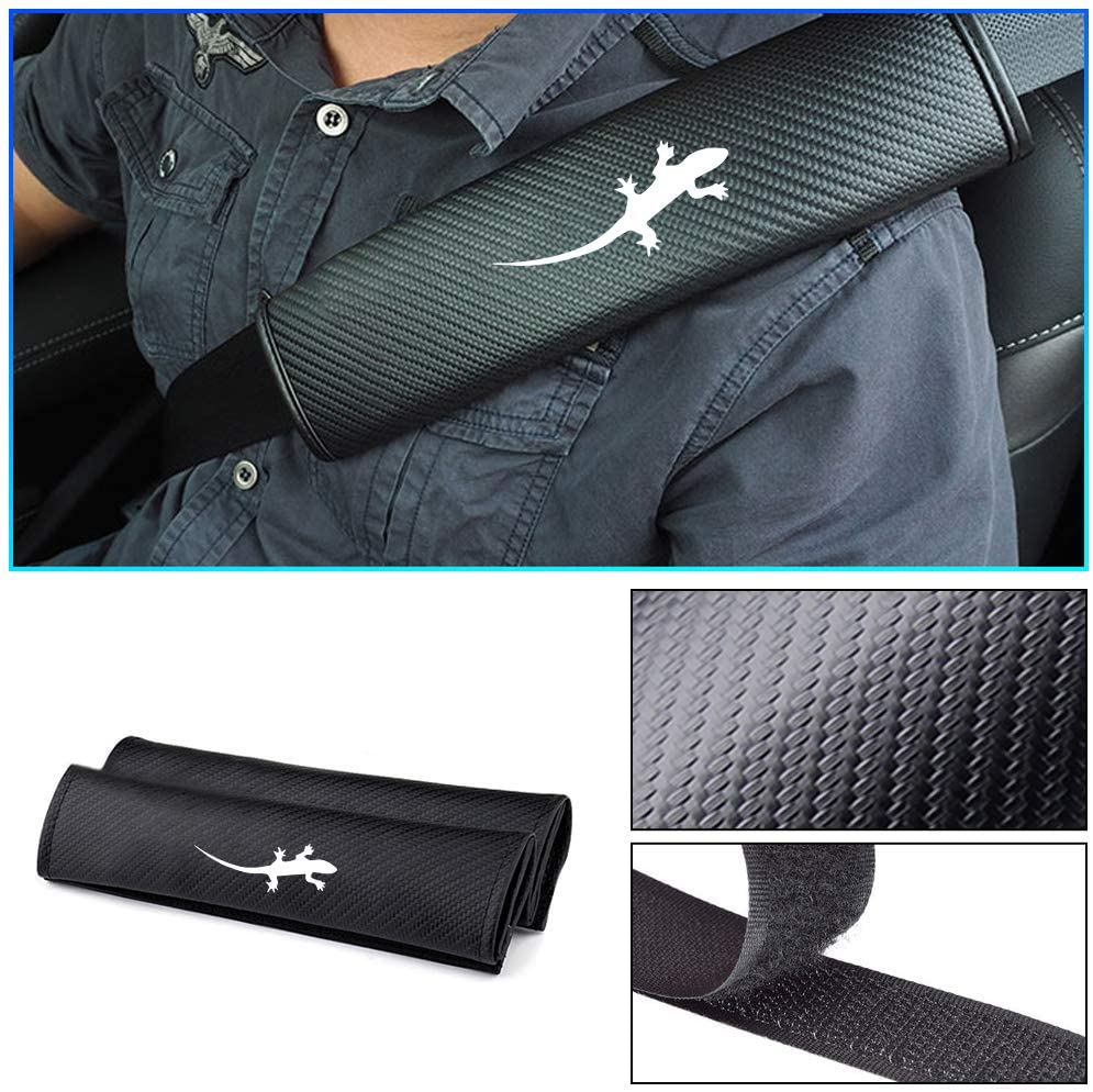 Carado Car Seat Belt Pad Cover for Mercedes GLC Seat Belt Shoulder Pads Carbon Fiber Cushion Strap Covers Gecko White 2Pcs