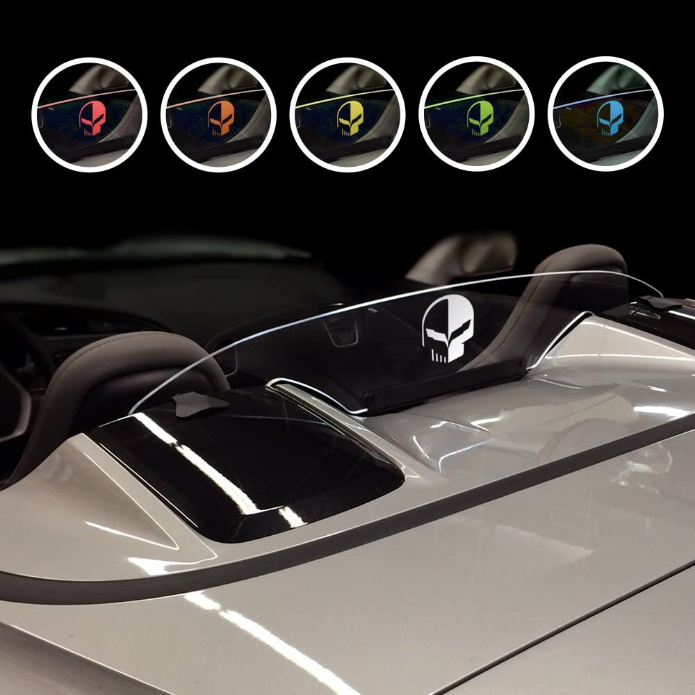 Wind Restrictor LED Wind Deflector for 2014 - Present Chevrolet Corvette C7 Convertible with White Illuminated Laser Etched Jake Logo Graphic