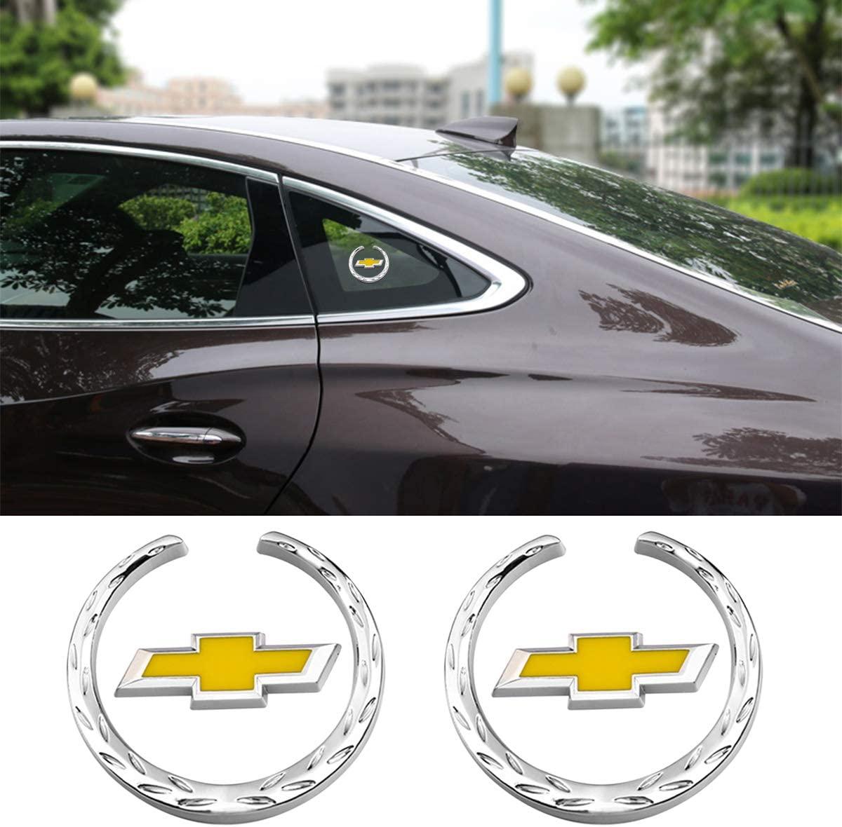 wesport 2pcs 3D C-pillar wheat car sticker,Decal with car Logo Metal car Emblem, Car Tailgate Hood Emblem (Chev)