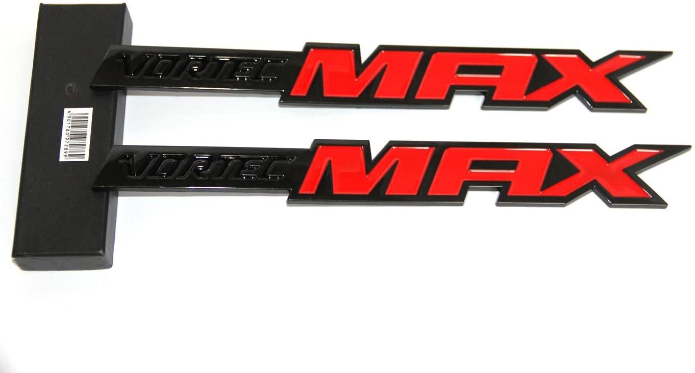 Yoaoo 2x OEM 10.8 Inches Black Vortec Max Emblems Badge for 06-09 Silverado Truck 6.0 Liter Red Max Badge