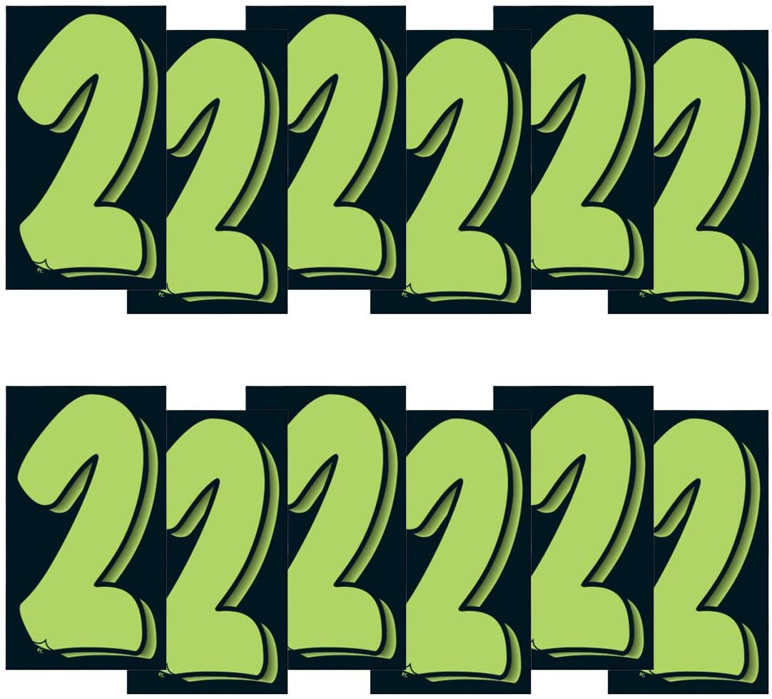 VERSA-TAGS 7 1/2 Inch Chartreuse Green & Black Numbers Windshield Pricing Stickers Car Dealer (2)