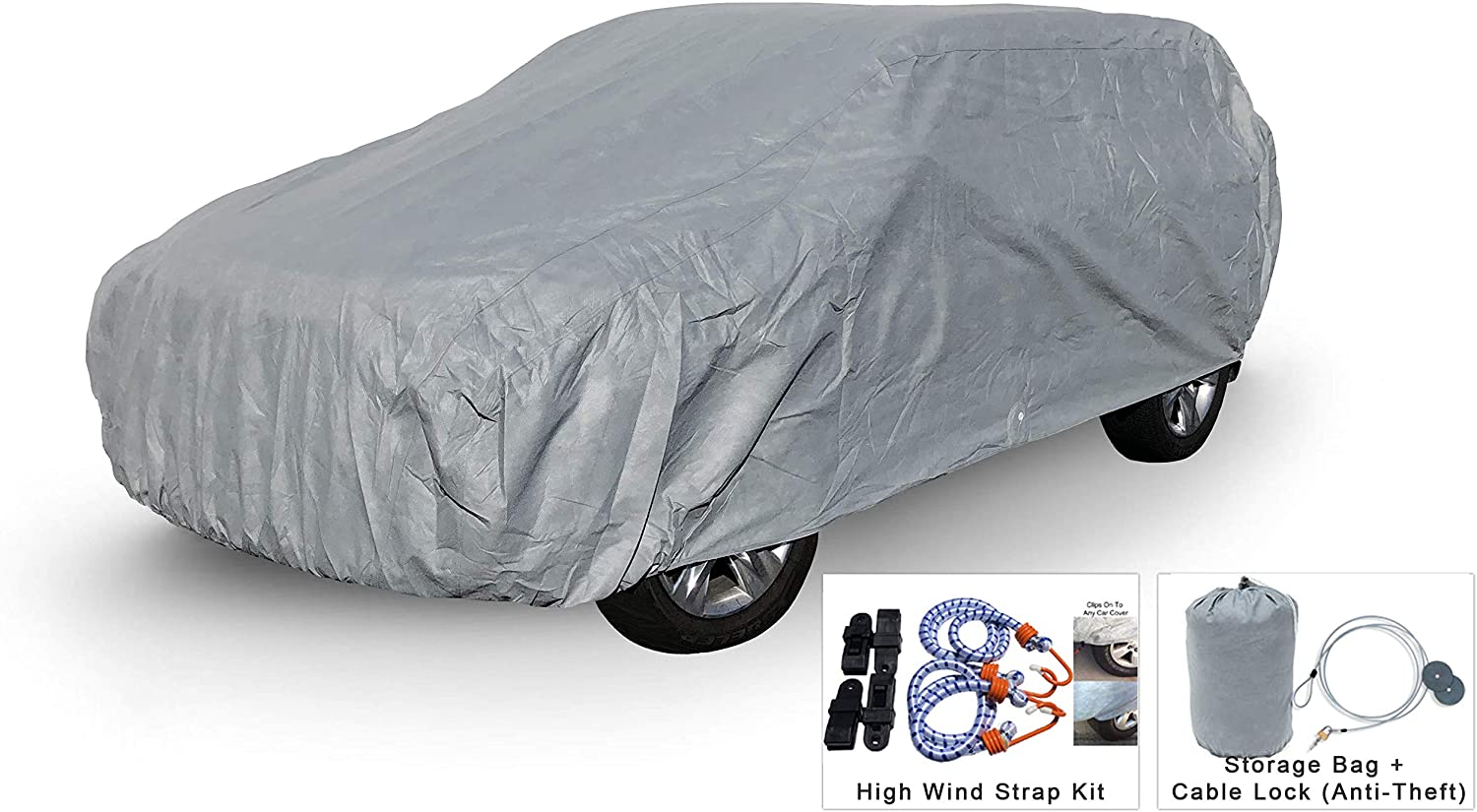 Weatherproof SUV Car Cover Compatible with Acura MDX 2000-2019 - 5L Outdoor & Indoor - Protect from Rain, Snow, Hail, UV Rays, Sun - Fleece Lining - Anti-Theft Cable Lock, Bag & Wind Straps