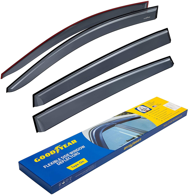 Goodyear Shatterproof Side Window Deflectors for Toyota RAV4 2013-2018 SUV, Tape-on Rain Guards, Vent Window Visors, 4 Pieces GY003117