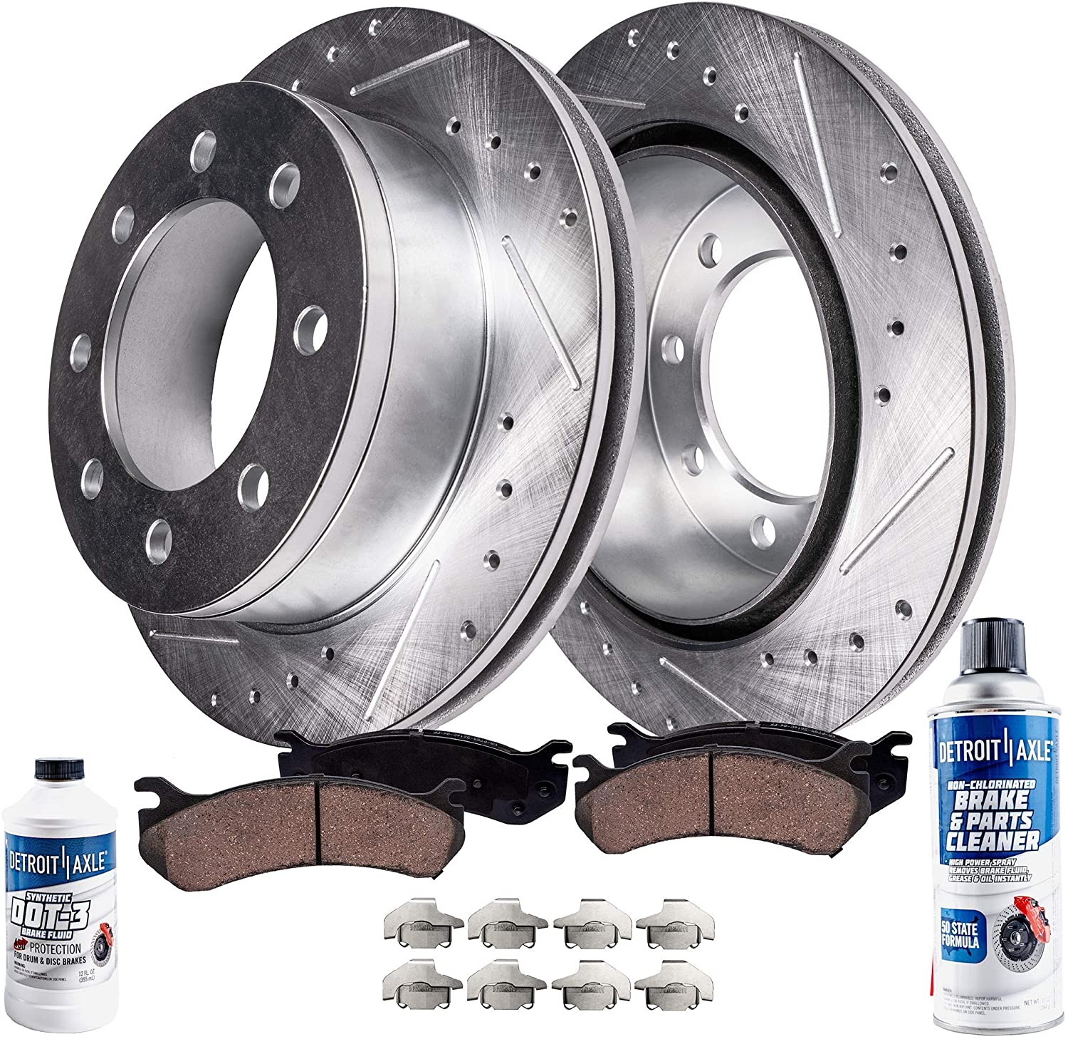 Detroit Axle - Rear Drilled and Slotted Disc Brake Kit Rotors w/Ceramic Pads w/Hardware & Brake Kit Cleaner & Fluid for Chevy GMC Sierra Silverado 1500 HD Suburban Avalanche Yukon XL 2500 Hummer H2