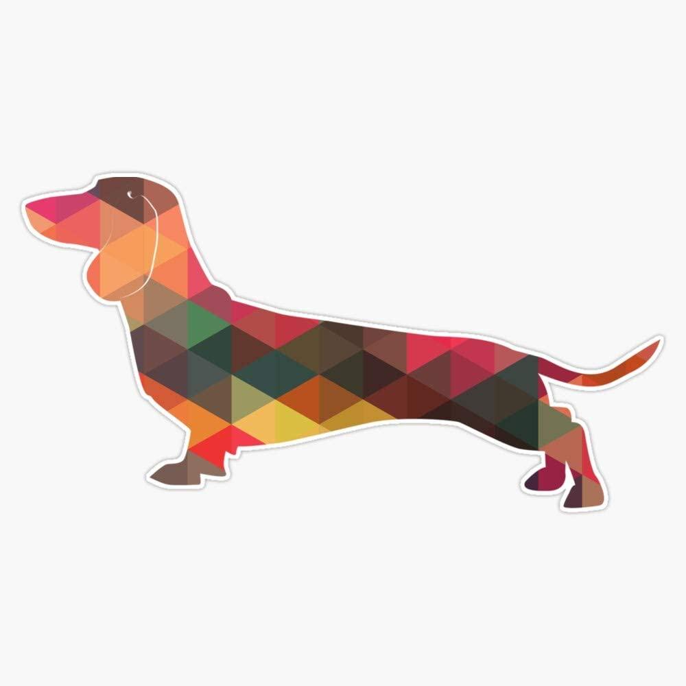 Dachshund Dog Colorful Geometric Pattern Silhouette - Multi Vinyl Waterproof Sticker Decal Car Laptop Wall Window Bumper Sticker 5