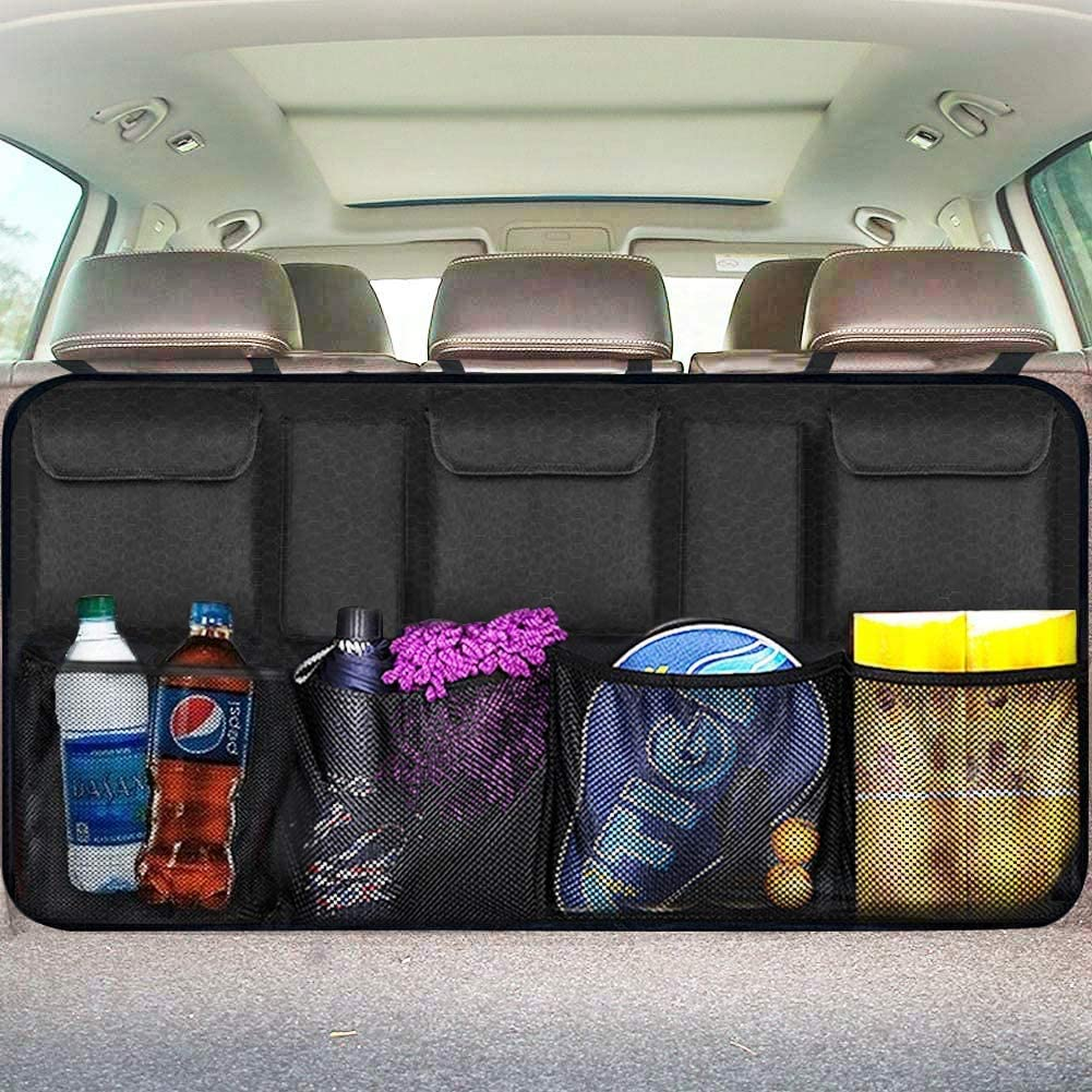 Backseat Trunk Organizer for SUV & Car Hanging Organizer Foldable Cargo Storage Bag with 9 Pockets Adjustable Strap Durable Cover and Fit for Most Vehicles