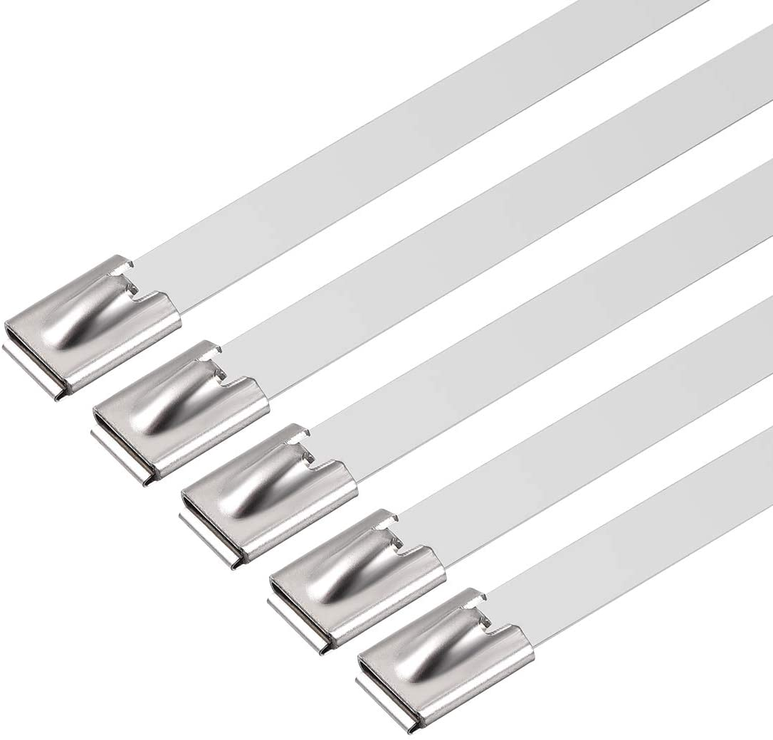 uxcell 600mmx12mm Stainless Steel Cable Zip Ties Metal Exhaust Wrap 10pcs