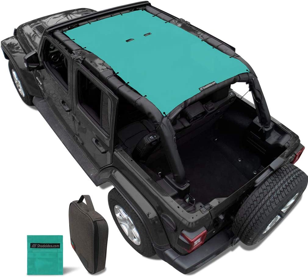 Shadeidea Sun Shade for Jeep Wrangler JL Unlimited 4 Door (2018- Current) Front and Rear-Tiff Blue Mesh Screen Sunshade JLU Top Cover UV Blocker with Grab Bag-10 Years Warranty
