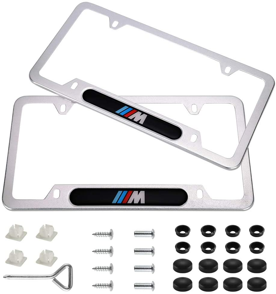 Wonderchef 2Pack M Logo Stainless Steel License Frame with for BMW,with Screw Caps Cover Set-Frosted Silver(for BMW M)