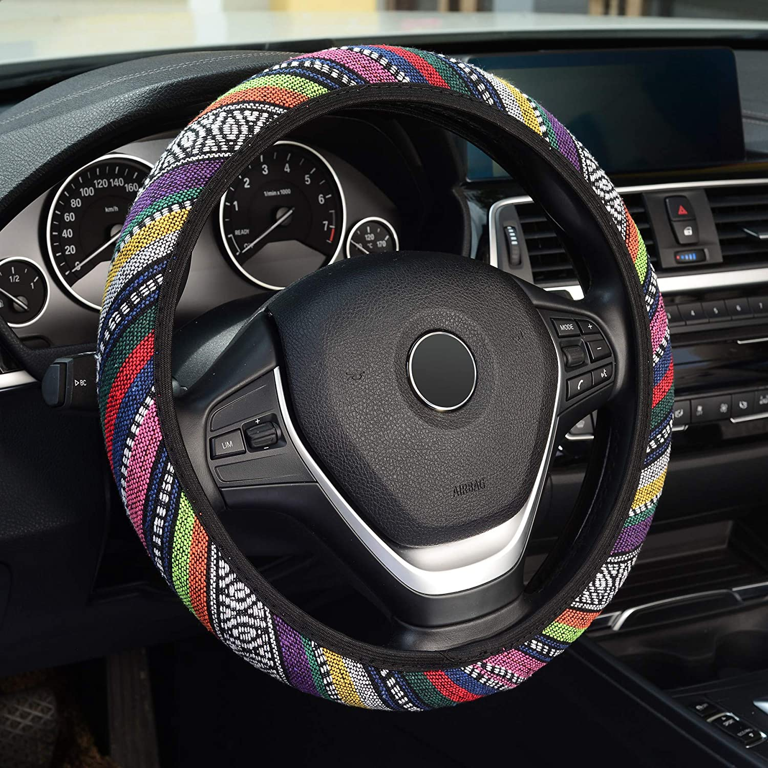 KAFEEK Elastic Linen Steering Wheel Cover,Warm in Winter and Cool in Summer,Universal 15 inch, Colorful