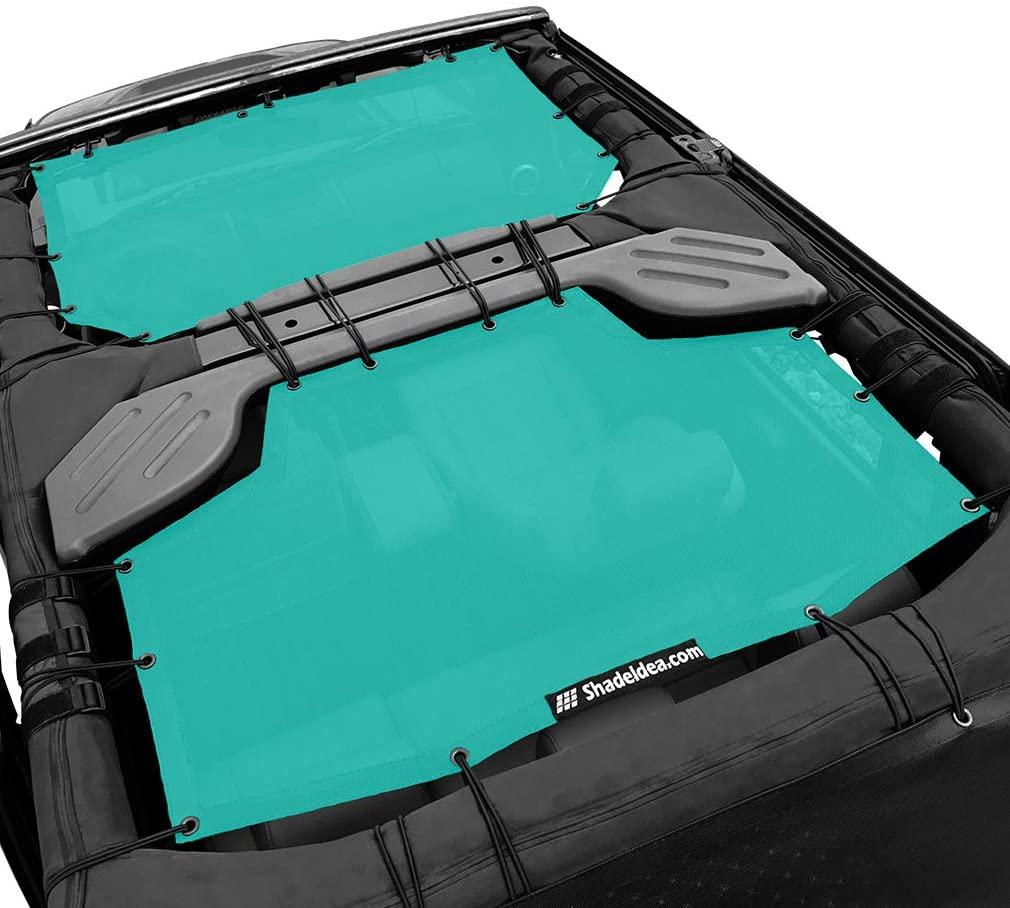 Shadeidea Sun Shade for Jeep Wrangler JK Unlimited (2007-2018) 4 Door-Tiff Blue Mesh Screen Sunshade JKU Top Cover UV Blocker with Grab Bag-One time Install 10 years Warranty