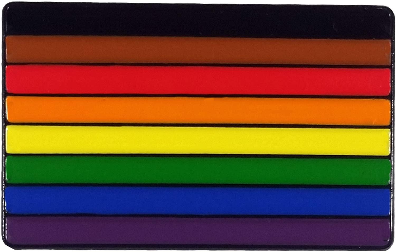 Dark Spark Decals All Inclusive LGBT Gay Pride Flag Enamel Lapel Pin [Black Metal]