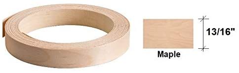 "Edge Banding-EB Quick- Real Wood Veneer Tape, Pre-Finished with Durable Clear Lacquer Finish, Pre-Glued with Hot Melt Adhesive, Flexible, 13/16"" Wide - Made in USA (1, Maple-25' LF-Roll)"