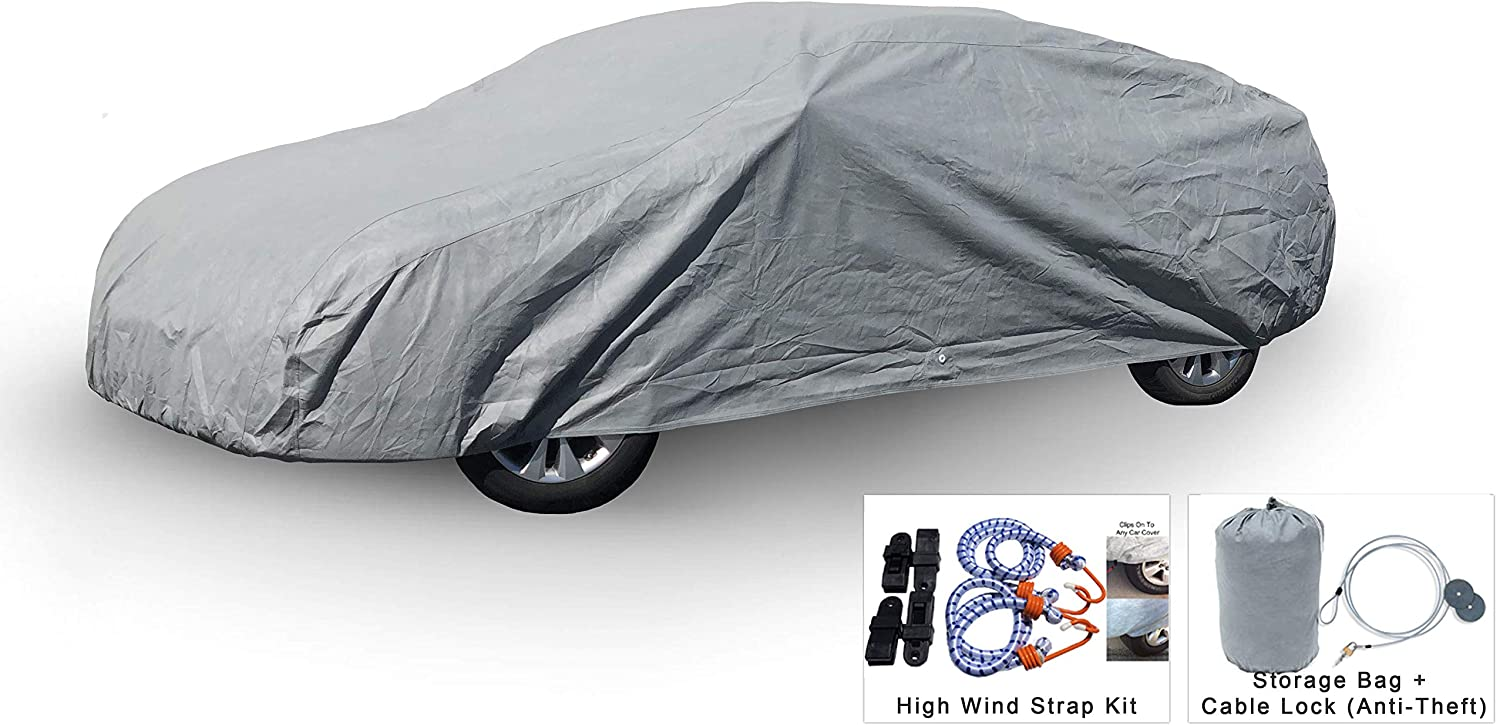 Weatherproof Car Cover Compatible with Mazda 626 1993-2002 - 5L Outdoor & Indoor - Protect from Rain, Snow, Hail, UV Rays, Sun - Fleece Lining - Anti-Theft Cable Lock, Bag & Wind Straps