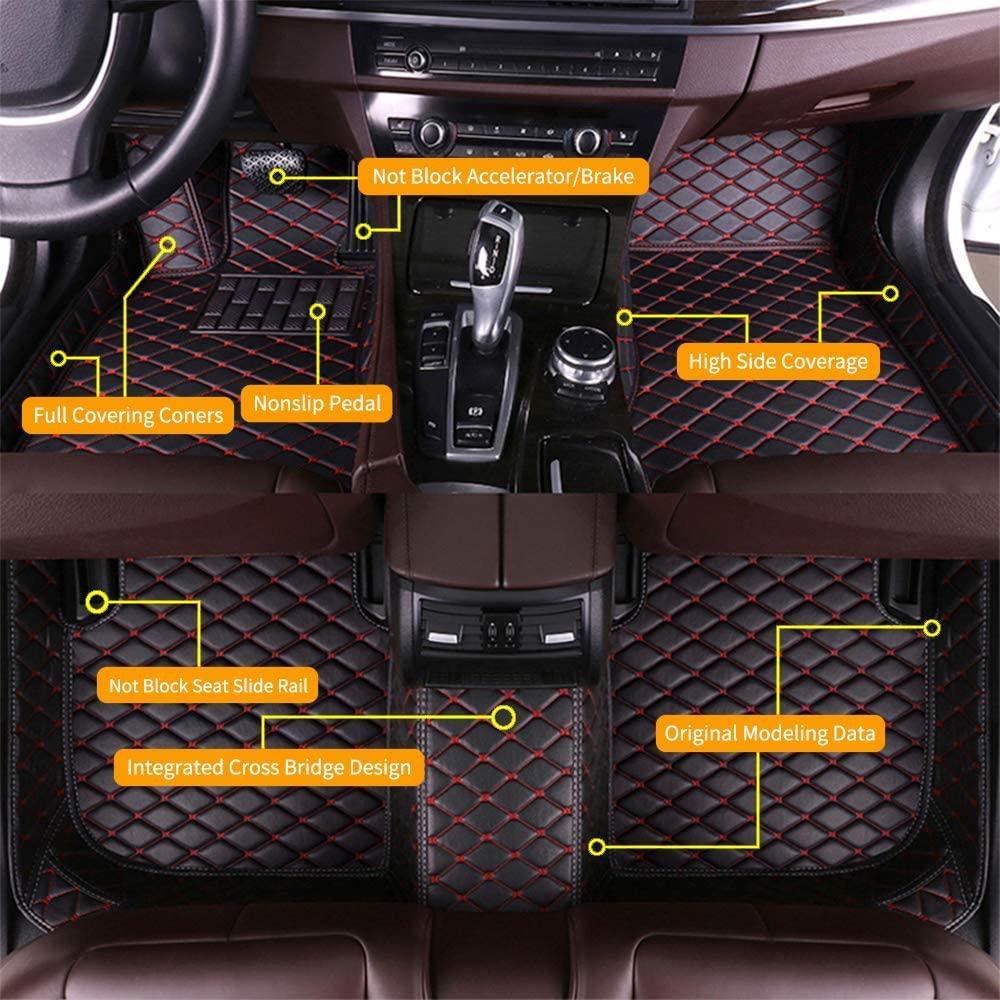 SureKit Custom Car Floor Mats for Mazda 2 2007-2016 Waterproof Anti-Skid Luxury Leather Full Coverage Liner Front & Rear Mat/Set (Black red)