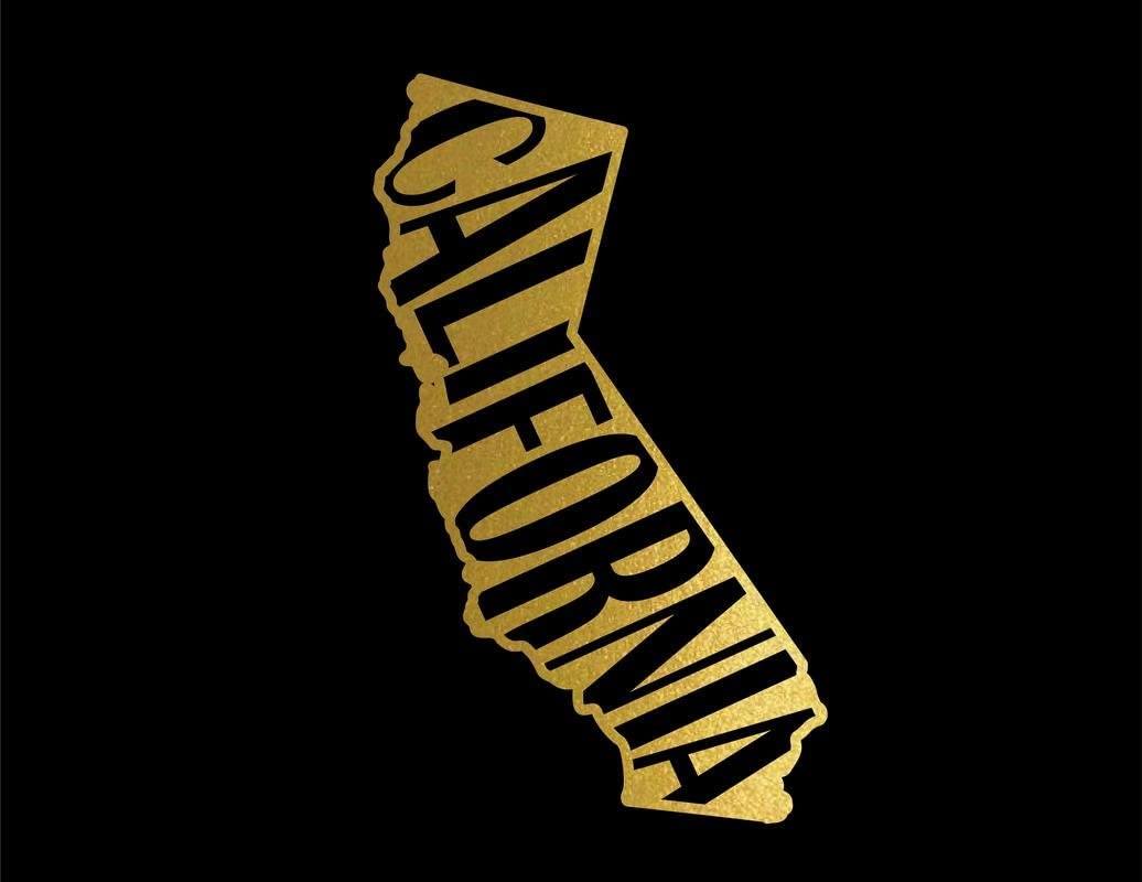 CMI ND061G State of California Decal Sticker | 5.5-Inches by 3.3-Inches | Premium Quality Gold Vinyl