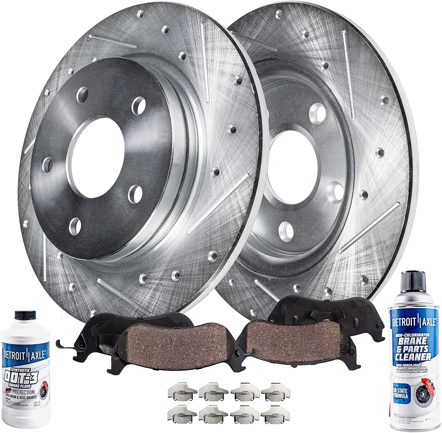 Detroit Axle - 286mm Rear Drilled & Slotted Brake Rotors Ceramic Pads w/Hardware + Brake Cleaner Fluid Replacement for 06-08 Audi A3 - [07-10 VW EOS] - 07-13 GTI - [05-10 Jetta] - 06-07 Passat