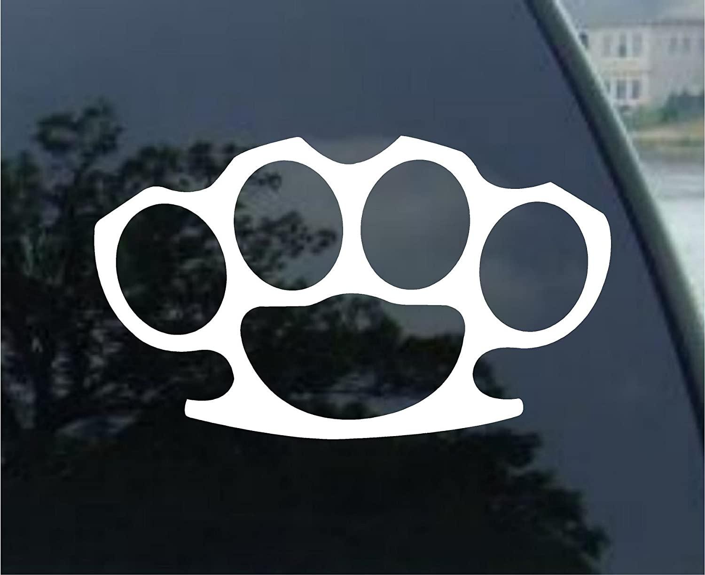 World Design Brass Knuckles Car Decal/Sticker - White