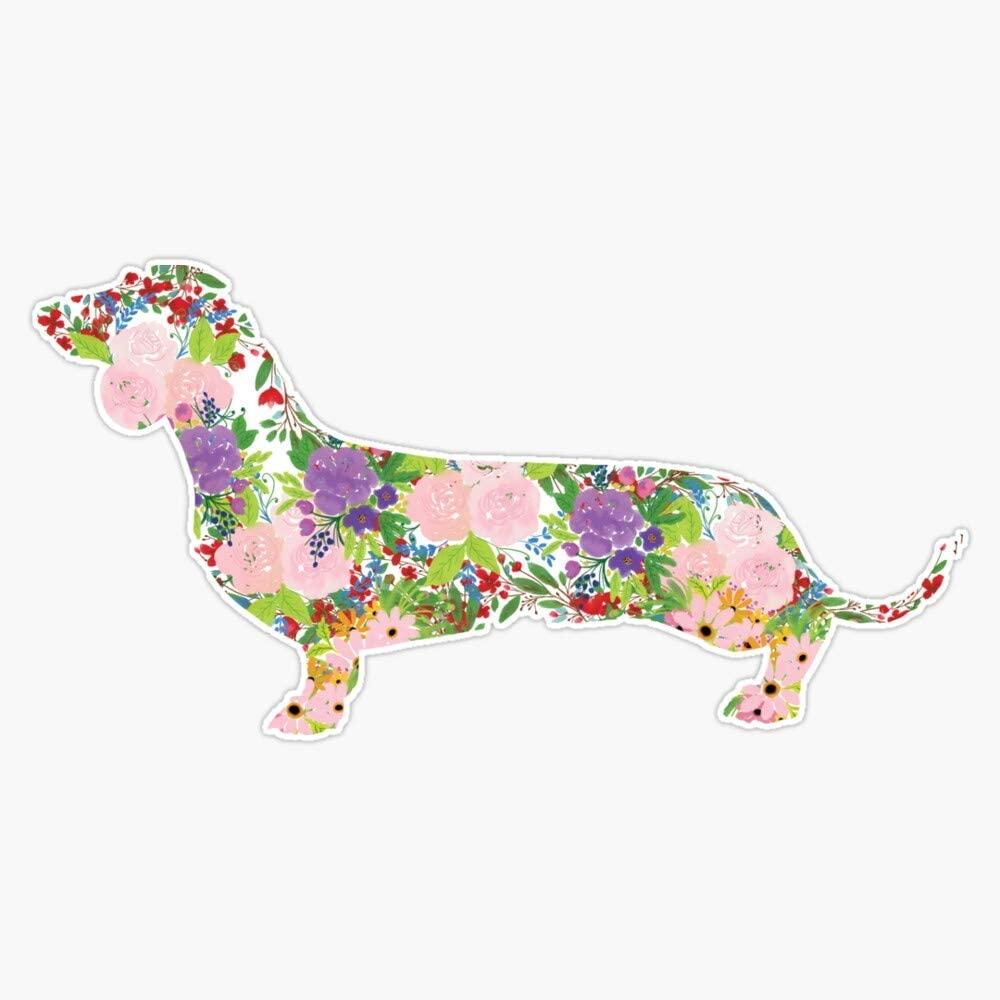 Floral Dachshund Vinyl Waterproof Sticker Decal Car Laptop Wall Window Bumper Sticker 5