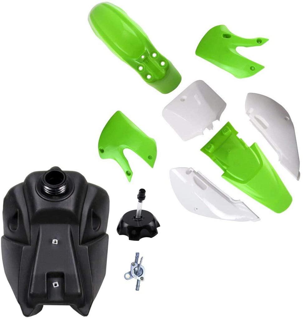 TDPRO Plastic Body Fender Fairing Kit & Fuel Gas Tank & Cap for Kawasaki Kx 65 KX65 (4Green+3White)