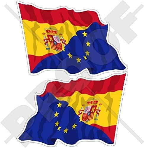 EUROPE-SPAIN Waving Flag, EU-ES European Union-Spanish 3 (75mm) Vinyl Bumper Stickers, Decals x2 (Left-Right)