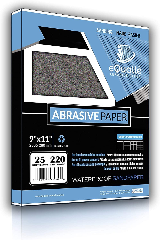 Sandpaper   25 Sheets   Grit 220   9x11   Waterproof Silicon Carbide Abrasive