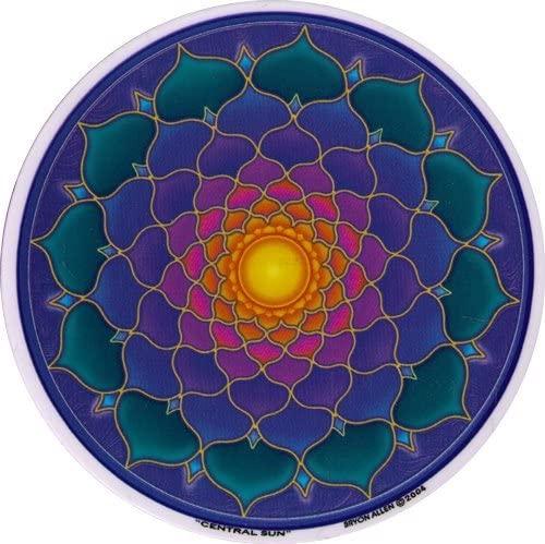 "Mandala Arts Central Sun – Spiritual Window Sticker/Decal - Circular 4.5"" Translucent"