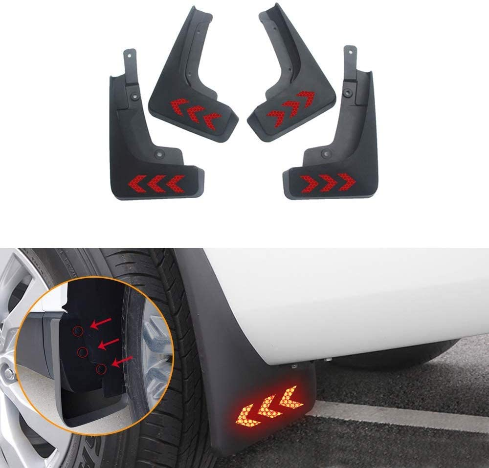 Muchkey no dril car mud Flaps for Cadillac CT6 2016 2017+Self-Adhesive Safety refelctive Tape Warning Tape Marking Waterproof for Fender Flare Splash Guard 4pcs/Set(Arrow,red)