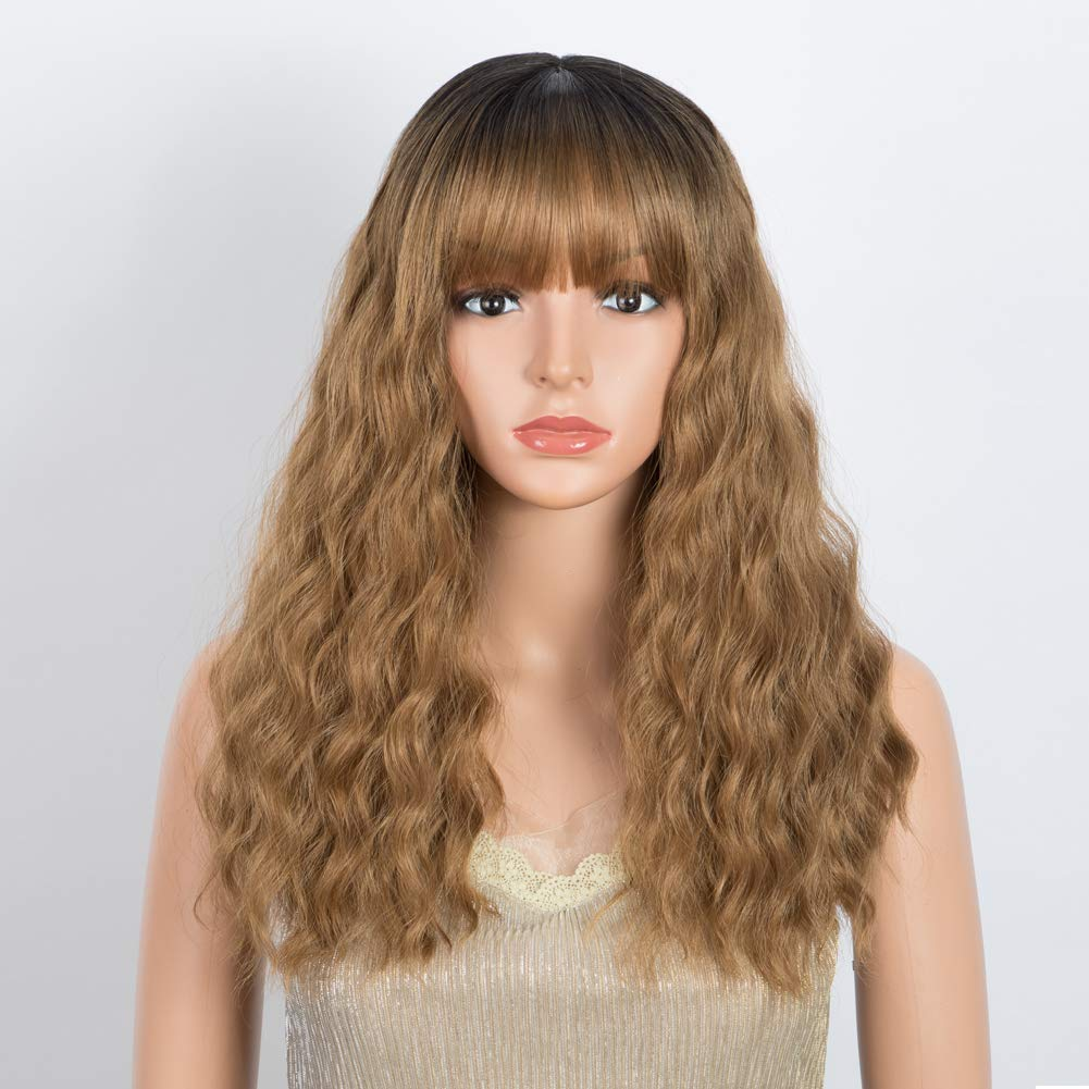 DÉBUT Long Bob Wigs Curl Lob Wigs Synthetic Hair Replacement 18 inches 203g blunt thick Bangs (OT27: HONEY Blonde with Dark Root)