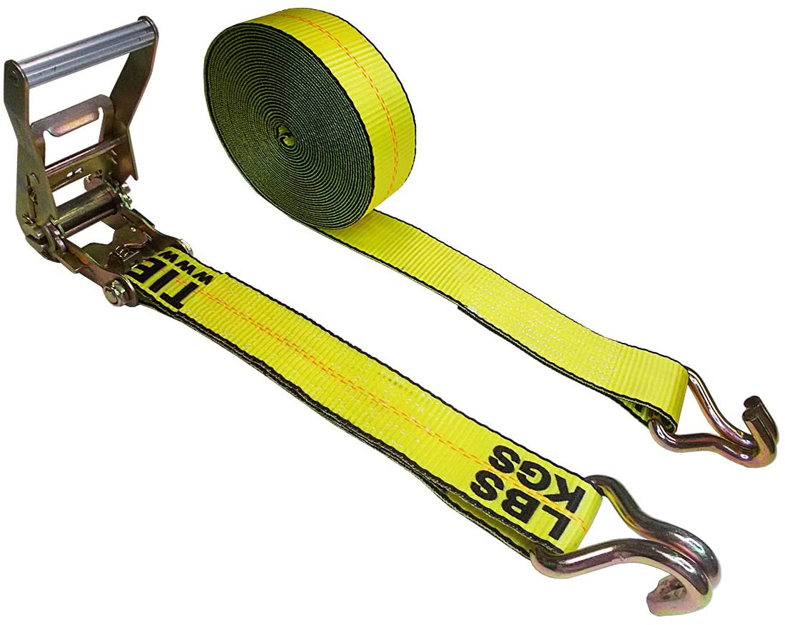 "Mega Cargo Control 2"" x 30' Heavy Duty Ratchet Tie -Down Strap with Double J Hooks Wire (Yellow)"