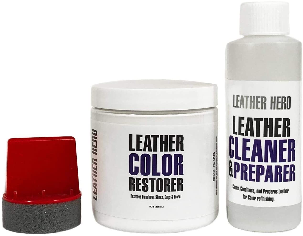 Leather Hero Leather Color Restorer Repair Kit- Refinish, Recolor, Renew Leather & Vinyl Sofa, Purse, Shoes, Auto Car Seats, Couch 8oz (Navy Blue)