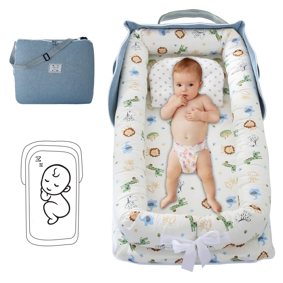Yinuoday Baby Lounger Folding Portable Newborn Crib Infant Cotton Co Sleeping Bassinet for Travel Bedroom Outdoor