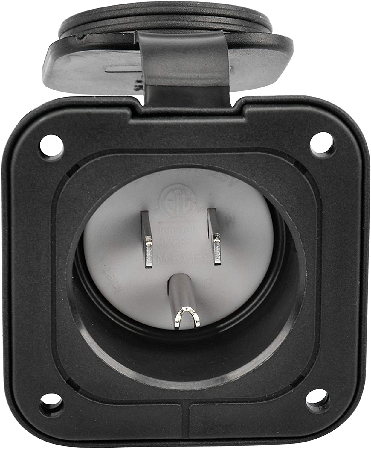 RVGUARD NEMA 5-15, Black 15 Amp Flanged Inlet 125V, Shore Power Inlet Receptacle with Waterproof Cover, 2 Pole 3-Wire, Straight Blade(Black ETL approved)