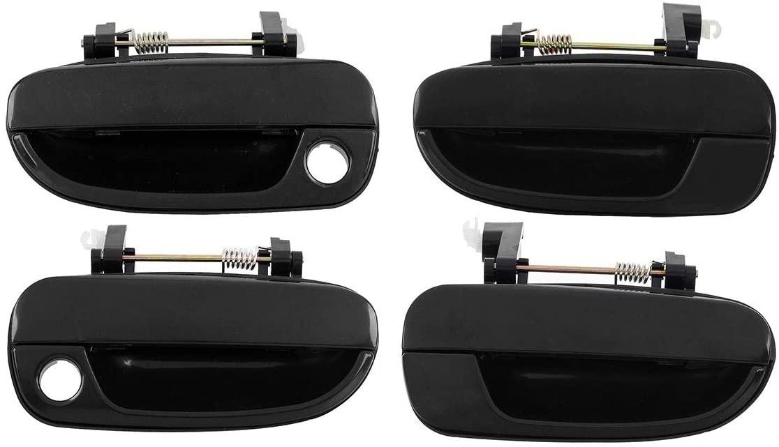 AUTEX 4pcs Black Exterior Door Handle (Front Rear Left Right) Driver + Passenger Side Compatible with Accent 2000 2001 2002 2003 2004 2005 2006 80684 80683 80686 80685