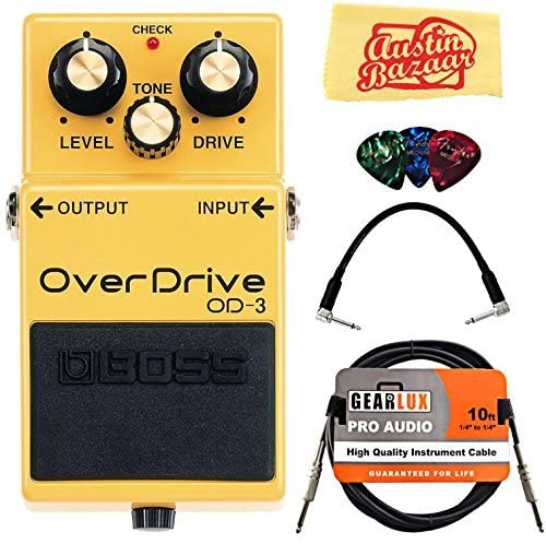 Boss OD-3 OverDrive Bundle with Instrument Cable, Patch Cable, Picks, and Austin Bazaar Polishing Cloth