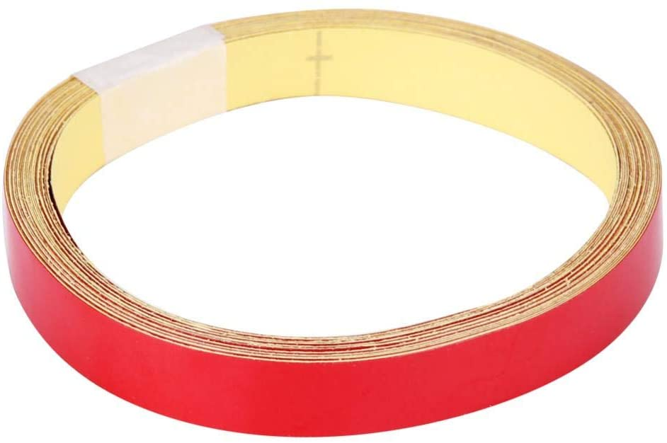 Car Reflective Tape, 1cm 5m Reflective Warning Tape Sticker Strip Decal for Car Motorcycle Vehicle Body(Red)