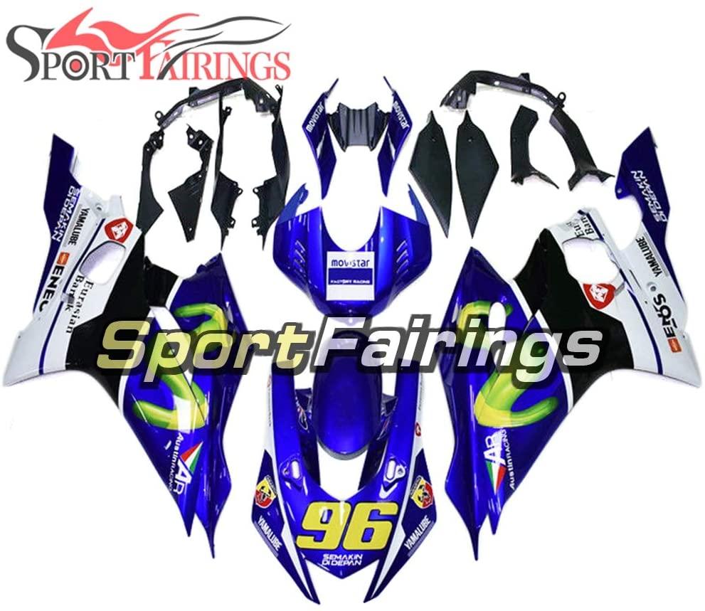 Sportfairings Motorcycle Full Fairings for Yamaha YZF-600 YZF R6 2017 2018 2019 YZF-R6 17 18 19 ABS Plastic Injection Bodywork Blue Movistar No.96