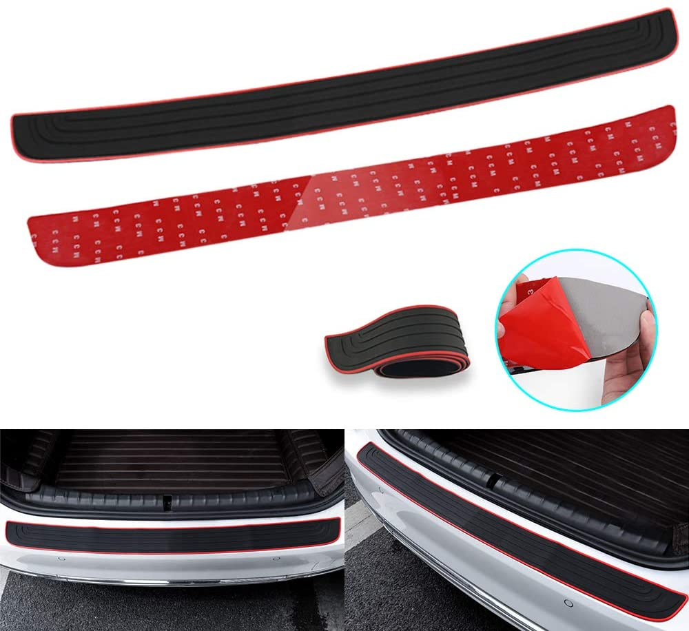 RUICA Rear Bumper Protector Guard Trunk Rubber Protection Strip Rubber Scratch-Resistant Trunk Door Entry Guards Car Accessory for SUV/Cars Universal Black with Full 3M Tape Pack-1