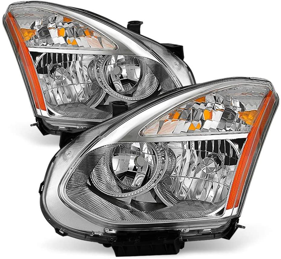 ACANII - For [Halogen Model] 2008-2013 Nissan Rogue Headlights Headlamps Head Lights Replacement Driver & Passenger Side