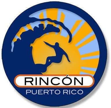 JR Studio 4x4 inch Round Surfer On Wave Rincon Puerto Rico Sticker - Surfing i surf Retro Vinyl Decal Sticker Car Waterproof Car Decal Bumper Sticker