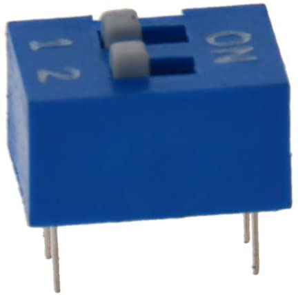 Fielect Blue DIP Switch Horizontal Toggle 1-2 Positions 2.54mm Pitch for Circuit Breadboards PCB 5Pcs