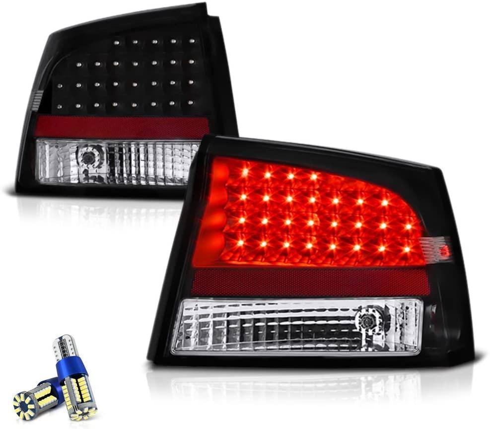 VIPMOTOZ LED Tail Light Lamp For 2006-2008 Dodge Charger - Full SMD LED Reverse Bulbs, Matte Black Housing, Driver & Passenger Side